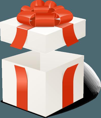 pacco regalo aperto con fiocco rosso