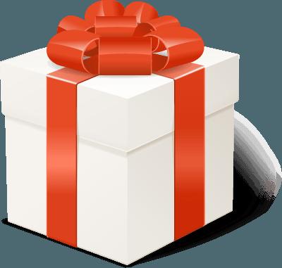 pacco regalo chiuso con fiocco rosso